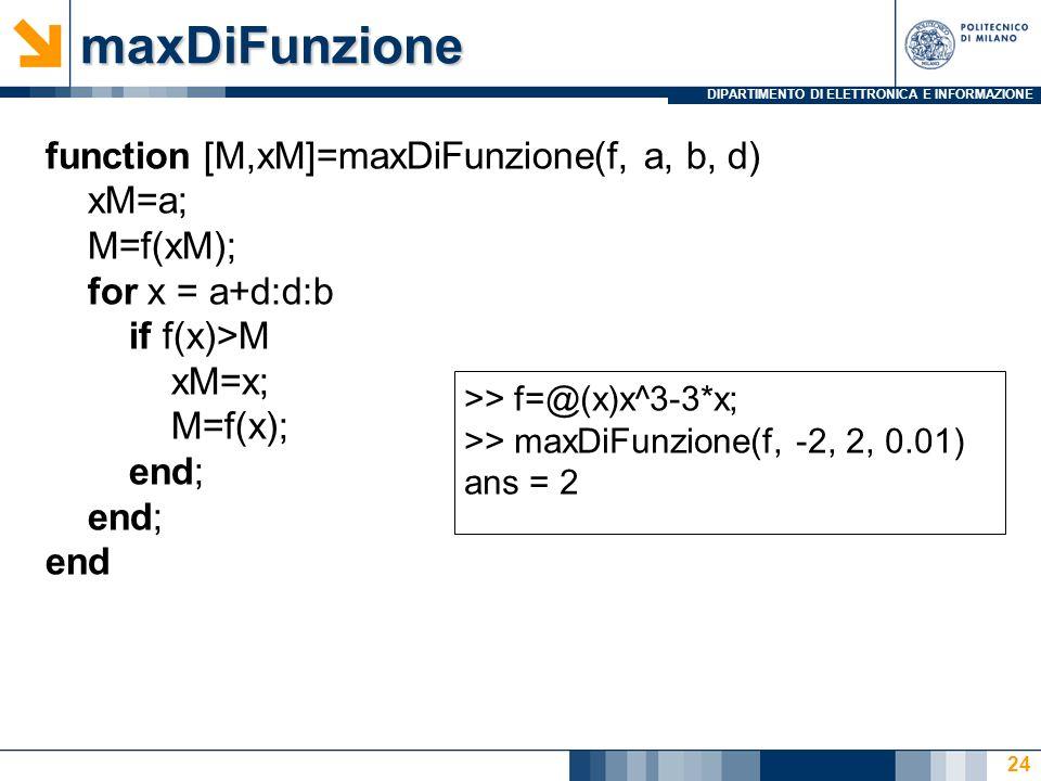 maxDiFunzione function [M,xM]=maxDiFunzione(f, a, b, d) xM=a; M=f(xM);